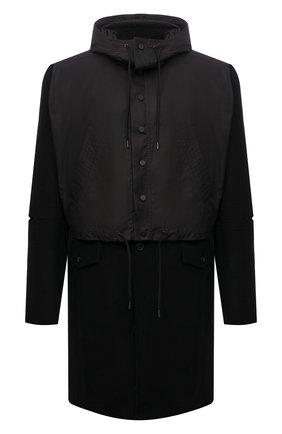 Мужской шерстяное пальто ISABEL BENENATO черного цвета, арт. UW03F21 | Фото 1 (Материал подклада: Вискоза, Синтетический материал; Мужское Кросс-КТ: пальто-верхняя одежда; Рукава: Длинные; Длина (верхняя одежда): До колена; Стили: Кэжуэл)