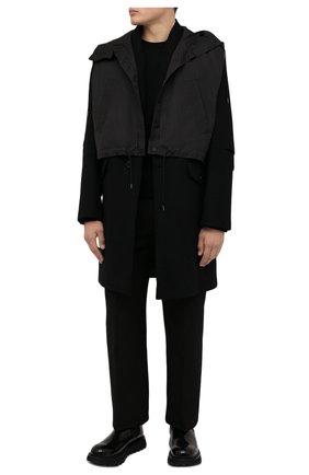 Мужской шерстяное пальто ISABEL BENENATO черного цвета, арт. UW03F21 | Фото 2 (Материал подклада: Вискоза, Синтетический материал; Мужское Кросс-КТ: пальто-верхняя одежда; Рукава: Длинные; Длина (верхняя одежда): До колена; Стили: Кэжуэл)