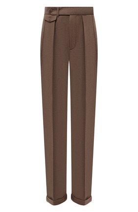 Женские шерстяные брюки RALPH LAUREN коричневого цвета, арт. 290858122 | Фото 1 (Материал внешний: Шерсть; Длина (брюки, джинсы): Удлиненные; Стили: Кэжуэл; Женское Кросс-КТ: Брюки-одежда; Силуэт Ж (брюки и джинсы): Прямые)