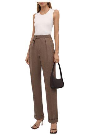Женские шерстяные брюки RALPH LAUREN коричневого цвета, арт. 290858122 | Фото 2 (Материал внешний: Шерсть; Длина (брюки, джинсы): Удлиненные; Стили: Кэжуэл; Женское Кросс-КТ: Брюки-одежда; Силуэт Ж (брюки и джинсы): Прямые)
