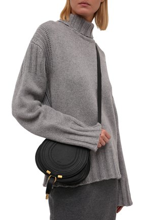 Женская сумка marcie mini CHLOÉ черного цвета, арт. CHC21AS680F01 | Фото 2 (Материал: Натуральная кожа; Размер: mini; Ремень/цепочка: На ремешке; Сумки-технические: Сумки через плечо)