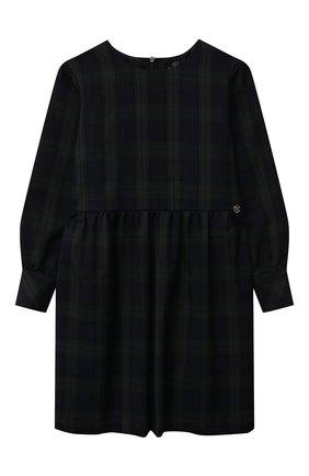 Детское платье DAN MARALEX зеленого цвета, арт. 251594134 | Фото 1 (Материал внешний: Вискоза, Синтетический материал; Рукава: Длинные; Девочки Кросс-КТ: Платье-одежда; Случай: Повседневный)
