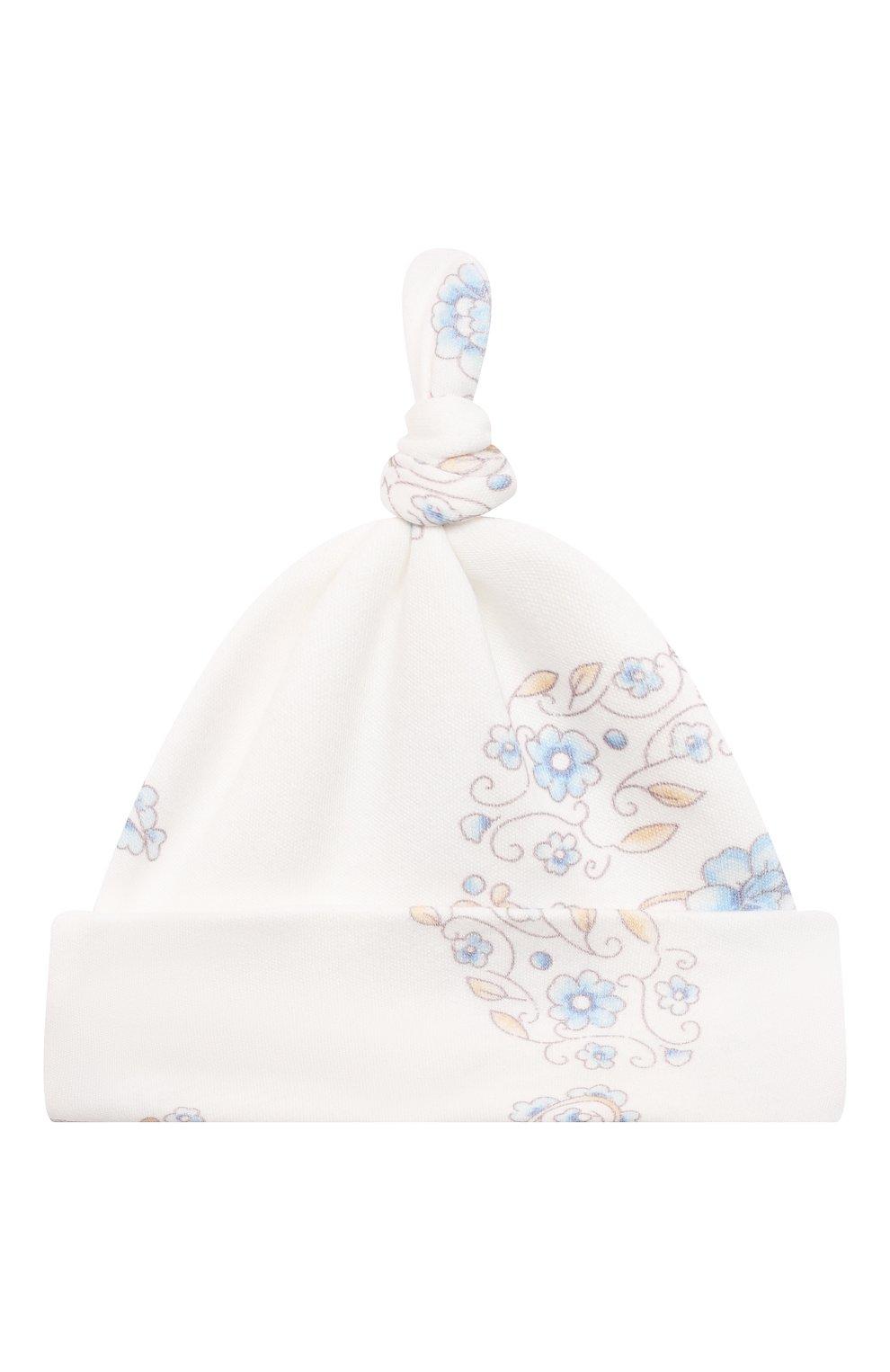 Детского комплект из четырех предметов ferrario CHEPE голубого цвета, арт. 071431 | Фото 8 (Материал внешний: Хлопок; Ростовка одежда: 0 - 3 мес | 50 - 60 см)
