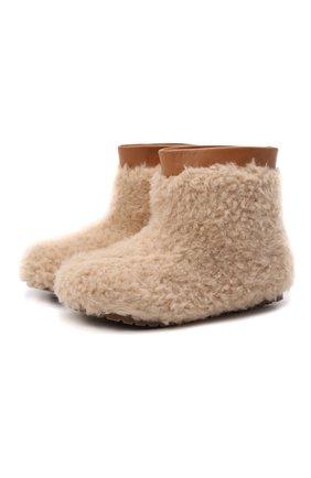 Детские ботинки AGE OF INNOCENCE бежевого цвета, арт. 000139/YETI MINI 2.0/29-35   Фото 1 (Материал внешний: Текстиль; Материал утеплителя: Натуральный мех)