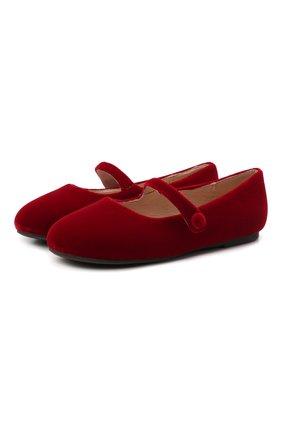 Детские балетки AGE OF INNOCENCE красного цвета, арт. 000153/ELIN VELVET/25-31 | Фото 1 (Материал внешний: Текстиль; Материал внутренний: Натуральная кожа)
