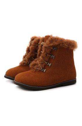 Детские замшевые ботинки AGE OF INNOCENCE коричневого цвета, арт. 000218/AMY/25-31   Фото 1 (Материал утеплителя: Натуральный мех)