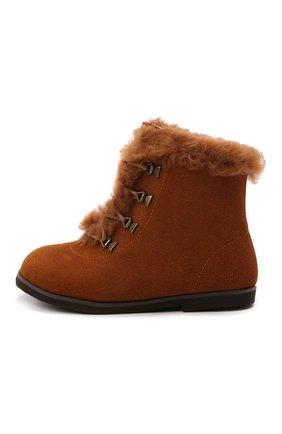 Детские замшевые ботинки AGE OF INNOCENCE коричневого цвета, арт. 000218/AMY/25-31   Фото 2 (Материал утеплителя: Натуральный мех)