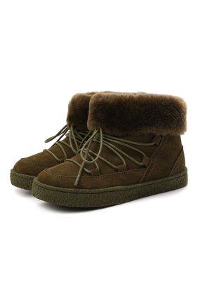 Детские замшевые ботинки AGE OF INNOCENCE хаки цвета, арт. 000241/HARPER/26-32 | Фото 1 (Материал утеплителя: Натуральный мех)