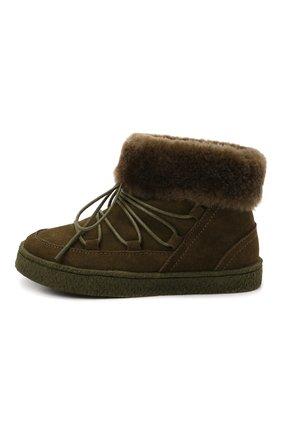 Детские замшевые ботинки AGE OF INNOCENCE хаки цвета, арт. 000241/HARPER/26-32 | Фото 2 (Материал утеплителя: Натуральный мех)