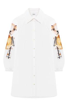 Детское хлопковое платье-рубашка BURBERRY белого цвета, арт. 8044870 | Фото 1 (Материал внешний: Хлопок; Рукава: Длинные; Девочки Кросс-КТ: Платье-одежда; Случай: Повседневный; Ростовка одежда: 10 - 11 лет | 140 - 146см, 12 лет | 152 см, 16 лет | 164 см, 3 года | 98 см, 4 года | 104 см, 6 лет | 116 см, 8 лет | 128 см)