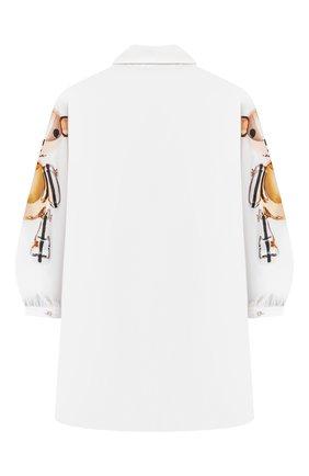 Детское хлопковое платье-рубашка BURBERRY белого цвета, арт. 8044870 | Фото 2 (Материал внешний: Хлопок; Рукава: Длинные; Девочки Кросс-КТ: Платье-одежда; Случай: Повседневный; Ростовка одежда: 10 - 11 лет | 140 - 146см, 12 лет | 152 см, 16 лет | 164 см, 3 года | 98 см, 4 года | 104 см, 6 лет | 116 см, 8 лет | 128 см)