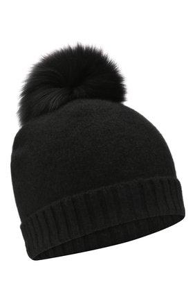 Детского кашемировая шапка GIORGETTI CASHMERE черного цвета, арт. MB1693/TU/4A | Фото 1 (Материал: Шерсть, Кашемир)