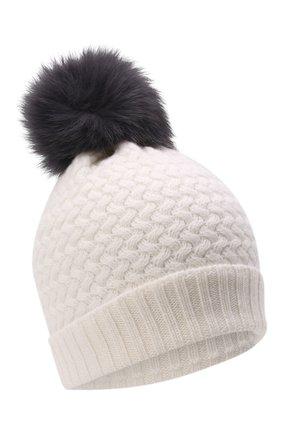 Детского кашемировая шапка GIORGETTI CASHMERE кремвого цвета, арт. MB1825/4A | Фото 1 (Материал: Кашемир, Шерсть)