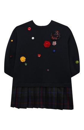 Детское платье из хлопка и шерсти DOLCE & GABBANA темно-синего цвета, арт. L5JD3A/G7AYK/2-6 | Фото 1 (Рукава: Длинные; Материал внешний: Хлопок; Девочки Кросс-КТ: Платье-одежда; Случай: Повседневный; Ростовка одежда: 2 года | 92 см, 3 года | 98 см, 4 года | 104 см, 5 лет | 110 см, 6 лет | 116 см)