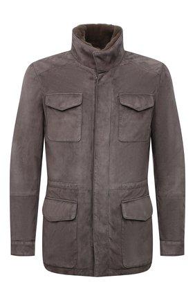 Мужская замшевая куртка с меховой отделкой ANDREA CAMPAGNA серого цвета, арт. A3T144/5603 | Фото 1 (Материал утеплителя: Шерсть; Кросс-КТ: Куртка; Рукава: Длинные; Длина (верхняя одежда): До середины бедра; Мужское Кросс-КТ: Кожа и замша; Стили: Кэжуэл)