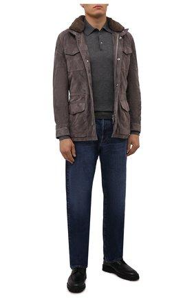 Мужская замшевая куртка с меховой отделкой ANDREA CAMPAGNA серого цвета, арт. A3T144/5603 | Фото 2 (Материал утеплителя: Шерсть; Кросс-КТ: Куртка; Рукава: Длинные; Длина (верхняя одежда): До середины бедра; Мужское Кросс-КТ: Кожа и замша; Стили: Кэжуэл)