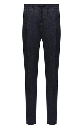 Мужские брюки из шерсти и хлопка ANDREA CAMPAGNA темно-синего цвета, арт. SPIAGGIA RETR0/GB1674 | Фото 1 (Материал подклада: Синтетический материал; Длина (брюки, джинсы): Стандартные; Материал внешний: Шерсть; Случай: Повседневный; Стили: Кэжуэл)