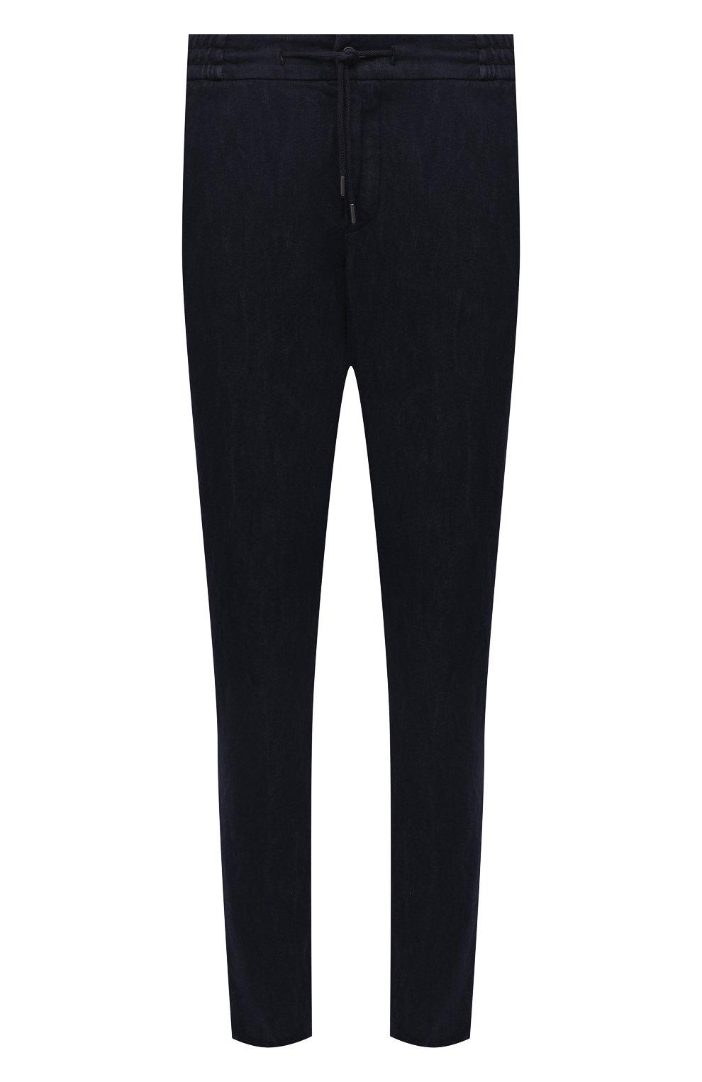 Мужские брюки ANDREA CAMPAGNA темно-синего цвета, арт. SPIAGGIA/PU0225X | Фото 1 (Длина (брюки, джинсы): Стандартные; Случай: Повседневный; Материал внешний: Хлопок; Стили: Кэжуэл)