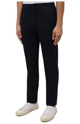 Мужские брюки ANDREA CAMPAGNA темно-синего цвета, арт. SPIAGGIA/PU0225X | Фото 3 (Длина (брюки, джинсы): Стандартные; Случай: Повседневный; Материал внешний: Хлопок; Стили: Кэжуэл)