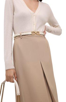 Женский кожаный пояс JIL SANDER кремвого цвета, арт. JSWT800436-WTS01045 | Фото 2 (Кросс-КТ: Тонкие)