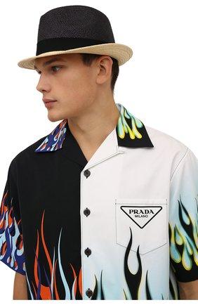 Мужская шляпа PRADA черного цвета, арт. 2HC046-2BDQ-F0889 | Фото 2 (Материал: Растительное волокно)