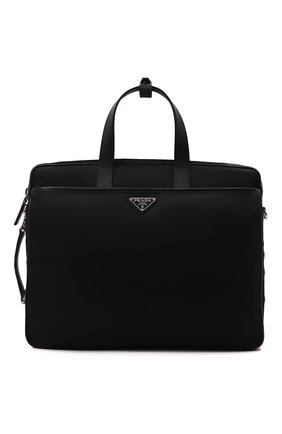 Мужская сумка для ноутбука PRADA черного цвета, арт. 2VE015-2DMH-F0002-OOO   Фото 1 (Материал: Текстиль; Ремень/цепочка: На ремешке)