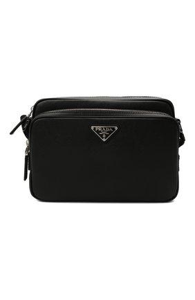Мужская кожаная сумка PRADA черного цвета, арт. 2VH138-9Z2-F0002-OOO | Фото 1 (Ремень/цепочка: На ремешке; Материал: Натуральная кожа)