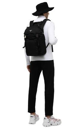 Мужской рюкзак PRADA черного цвета, арт. 2VZ135-2DMG-F0002-HCL | Фото 2 (Материал: Текстиль; Ремень/цепочка: На ремешке)
