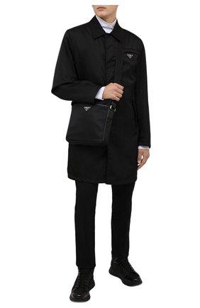Мужская сумка PRADA черного цвета, арт. 2VH002-2DMH-F0002-OOM | Фото 2 (Ремень/цепочка: На ремешке; Материал: Текстиль)
