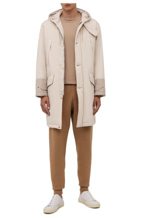 Мужские джоггеры из хлопка и шерсти BOSS бежевого цвета, арт. 50457692 | Фото 2 (Материал внешний: Хлопок, Шерсть; Силуэт М (брюки): Джоггеры; Мужское Кросс-КТ: Брюки-трикотаж; Стили: Спорт-шик; Длина (брюки, джинсы): Стандартные)