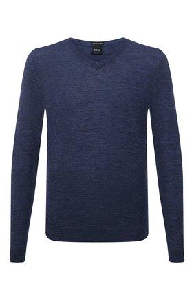 Мужской шерстяной пуловер BOSS темно-синего цвета, арт. 50378576 | Фото 1 (Материал внешний: Шерсть; Принт: Без принта; Мужское Кросс-КТ: Пуловеры; Вырез: V-образный; Рукава: Длинные; Стили: Кэжуэл; Длина (для топов): Стандартные)
