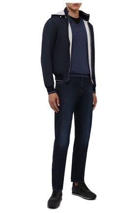 Мужской шерстяной пуловер BOSS темно-синего цвета, арт. 50378576 | Фото 2 (Материал внешний: Шерсть; Принт: Без принта; Мужское Кросс-КТ: Пуловеры; Вырез: V-образный; Рукава: Длинные; Стили: Кэжуэл; Длина (для топов): Стандартные)