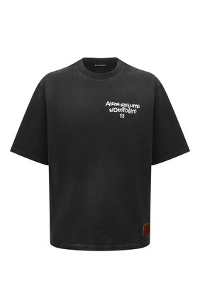 Мужская хлопковая футболка ACNE STUDIOS темно-серого цвета, арт. CI0077/M   Фото 1 (Длина (для топов): Стандартные; Материал внешний: Хлопок; Принт: С принтом; Стили: Гранж; Рукава: Короткие)