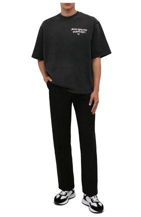 Мужская хлопковая футболка ACNE STUDIOS темно-серого цвета, арт. CI0077/M   Фото 2 (Длина (для топов): Стандартные; Материал внешний: Хлопок; Принт: С принтом; Стили: Гранж; Рукава: Короткие)