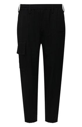 Мужские шерстяные джоггеры YOHJI YAMAMOTO черного цвета, арт. HX-P02-140 | Фото 1 (Материал внешний: Шерсть; Длина (брюки, джинсы): Стандартные; Силуэт М (брюки): Джоггеры; Стили: Минимализм)