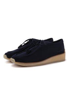 Женская замшевые ботинки GIORGIO ARMANI темно-синего цвета, арт. X1C221/XF598 | Фото 1 (Подошва: Платформа; Материал внутренний: Натуральная кожа)