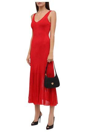 Женское платье из вискозы ALEXANDER MCQUEEN красного цвета, арт. 679384/Q1AWH   Фото 2 (Материал подклада: Синтетический материал; Материал внешний: Вискоза; Длина Ж (юбки, платья, шорты): Миди; Женское Кросс-КТ: Платье-одежда; Стили: Романтичный; Случай: Вечерний)