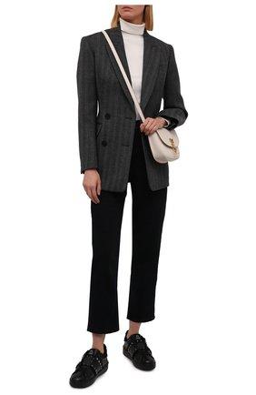 Женские кожаные кеды rockstud untitled VALENTINO черного цвета, арт. WW0S0A01/FAN | Фото 2 (Подошва: Платформа; Материал внутренний: Текстиль)