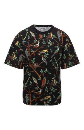 Женская хлопковая футболка KENZO черного цвета, арт. FB62TS9224SA   Фото 1 (Материал внешний: Хлопок; Рукава: Короткие; Длина (для топов): Стандартные; Женское Кросс-КТ: Футболка-одежда; Принт: С принтом; Стили: Спорт-шик)