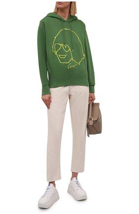 Женский хлопковое худи KENZO зеленого цвета, арт. FB62SW8794ML   Фото 2 (Материал внешний: Хлопок; Длина (для топов): Стандартные; Рукава: Длинные; Женское Кросс-КТ: Худи-одежда; Стили: Спорт-шик)