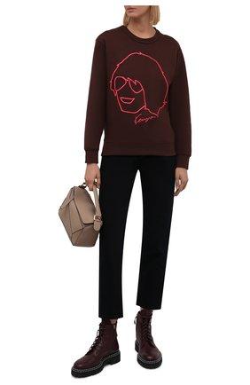 Женский хлопковый свитшот KENZO коричневого цвета, арт. FB62SW8354ML   Фото 2 (Длина (для топов): Стандартные; Материал внешний: Хлопок; Рукава: Длинные; Женское Кросс-КТ: Свитшот-одежда; Стили: Спорт-шик)