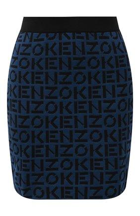 Женская юбка KENZO синего цвета, арт. FB62JU6363SC | Фото 1 (Материал внешний: Хлопок, Синтетический материал; Длина Ж (юбки, платья, шорты): Мини; Женское Кросс-КТ: Юбка-одежда; Кросс-КТ: Трикотаж; Стили: Спорт-шик)