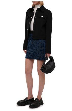 Женская юбка KENZO синего цвета, арт. FB62JU6363SC | Фото 2 (Материал внешний: Хлопок, Синтетический материал; Длина Ж (юбки, платья, шорты): Мини; Женское Кросс-КТ: Юбка-одежда; Кросс-КТ: Трикотаж; Стили: Спорт-шик)