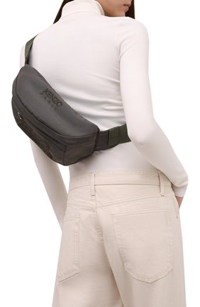 Женская поясная сумка kampus KENZO хаки цвета, арт. FA65SF305F20 | Фото 2 (Материал: Текстиль; Стили: Спорт; Застежка: Молния; Размер: medium; Ремень/цепочка: На ремешке)