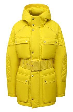 Женская утепленная куртка TOM FORD желтого цвета, арт. CS1149-FAX866 | Фото 1 (Длина (верхняя одежда): До середины бедра; Рукава: Длинные; Материал подклада: Вискоза; Материал внешний: Синтетический материал; Стили: Спорт-шик)