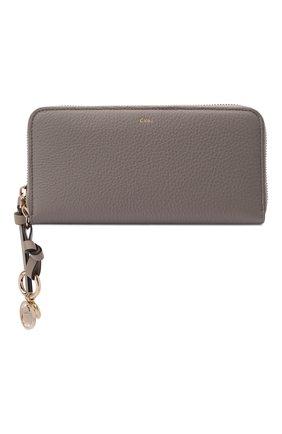Женские кожаный кошелек alphabet CHLOÉ серого цвета, арт. CHC21WP941F57 | Фото 1 (Застежка: Молния)