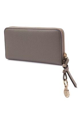 Женские кожаный кошелек alphabet CHLOÉ серого цвета, арт. CHC21WP941F57 | Фото 2 (Застежка: Молния)
