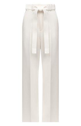 Женские шерстяные брюки ZEGNA COUTURE белого цвета, арт. 287149/630SNN   Фото 1 (Материал внешний: Шерсть; Длина (брюки, джинсы): Удлиненные; Женское Кросс-КТ: Брюки-одежда; Стили: Кэжуэл; Силуэт Ж (брюки и джинсы): Широкие)