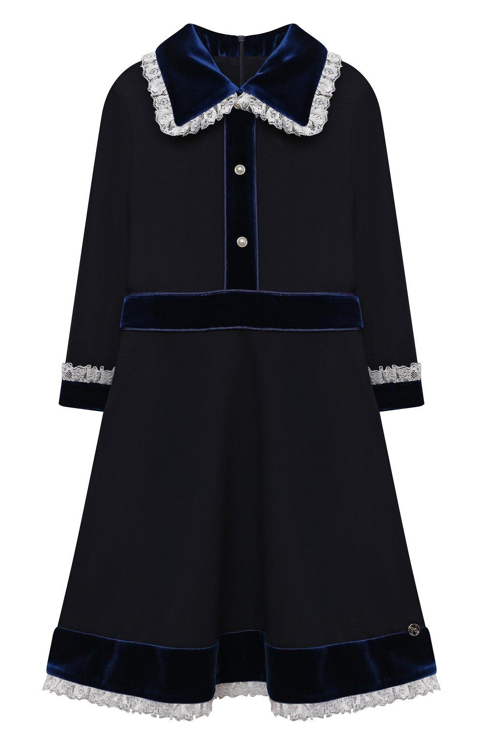 Детское платье из вискозы DAN MARALEX темно-синего цвета, арт. 252343313 | Фото 1 (Рукава: Длинные; Случай: Повседневный; Материал внешний: Синтетический материал, Вискоза; Девочки Кросс-КТ: Платье-одежда)