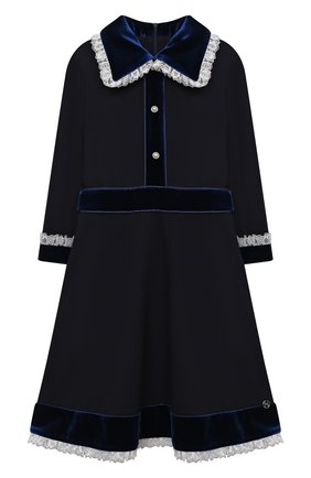Детское платье из вискозы DAN MARALEX темно-синего цвета, арт. 252343313 | Фото 1 (Материал внешний: Вискоза, Синтетический материал; Рукава: Длинные; Девочки Кросс-КТ: Платье-одежда; Случай: Повседневный)